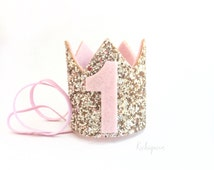 Miniature 1st birthday crown headband- blush and gold baby / girl birthday crown- pick any number