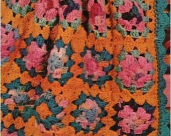 Crochet Granny Square Blanket Pattern Vintage 70s