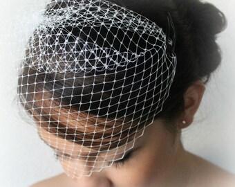 "Bridal Birdcage Veil-WHITE Bridal Veil-Wedding birdcage Veil Tulle Mini Veil Blusher Veil -9"" Veil mini bridal veil-BIRDCAGE VEIL"
