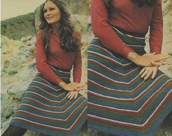 Crochet Skirt Pattern Crochet Poncho Pattern Crochet Wrap Pattern Crochet Shawl Pattern Crochet Vintage 70s Pattern Crochet Striped Skirt