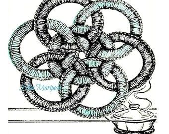 CROCHET POTHOLDER PATTERN Crochet Jar Ring Hot Pad Pattern