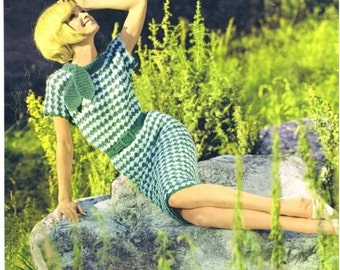 Vintage 60s Crochet DRESS PATTERN Instant Download