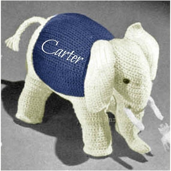 Crochet TOY Pattern Vintage 70s Crochet Elephant Toy