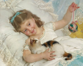 Young Girl and Cat by Emile Munier, in various sizes, Giclee Canvas Print