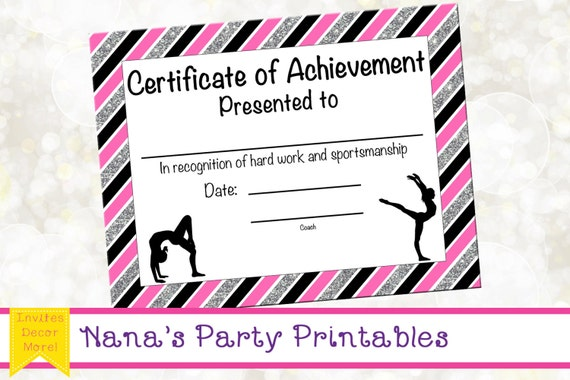 Gymnastics Award - Gymnastics Certificate - Printable ...