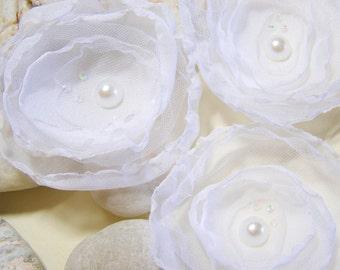 """3 White Singed Flowers, 3"""" Singed Flowers, Tule Flowers,, Tule Fabric Flower, Chiffon Fabric Flower, For Headbands, Card Making, Hangers"""