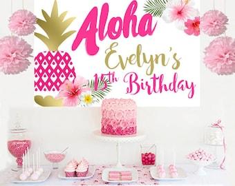 Aloha Summer Luau Personalized Backdrop - Birthday Cake Table Backdrop Birthday- Hibiscus Photo Backdrop, Pineapple Backdrop