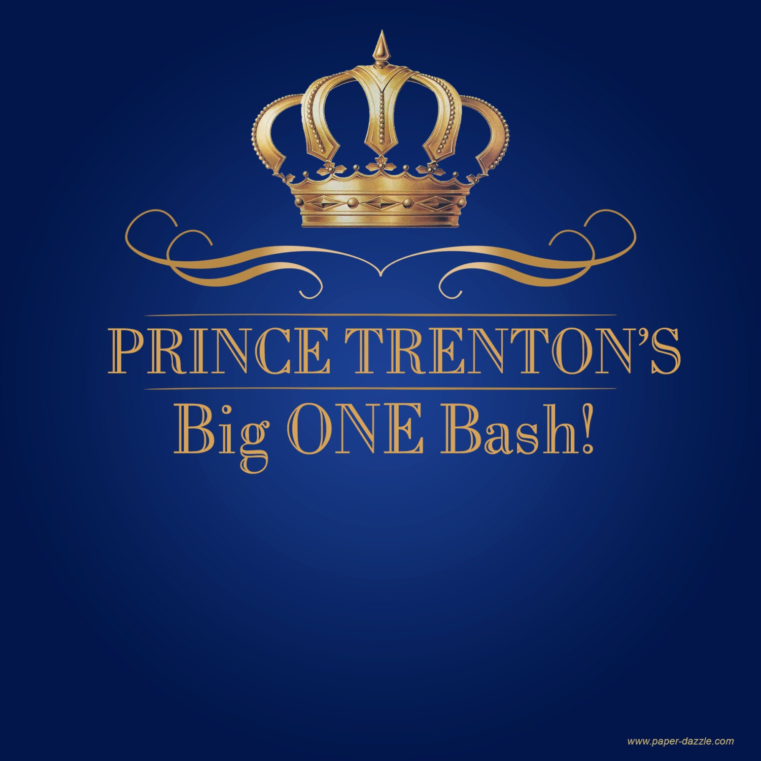 Royal Prince Birthday Party Personalized Backdrop First