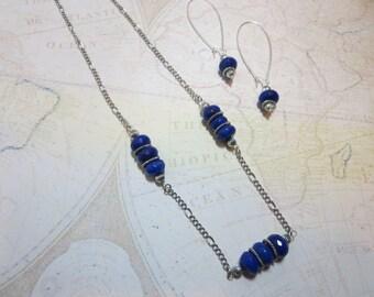 Blue Agate Necklace & Earrings