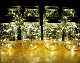 Sale!! 8 Firefly Lights and Mason Jar Centerpieces Wedding Centerpieces fairy lights vintage lights wedding rustic Wedding mason jar lights
