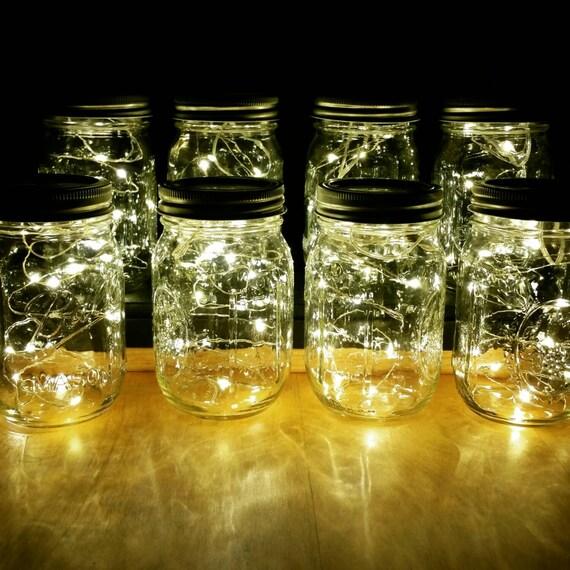Sale 8 Firefly Lights and Mason Jar Centerpieces Wedding