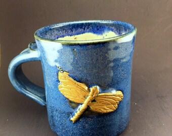 Blue Dragonfly Mug, Ready to Ship