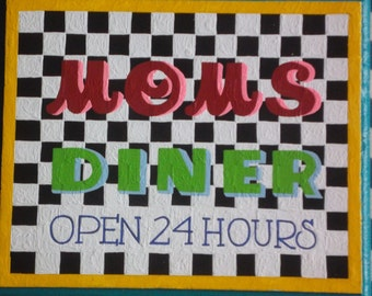 moms diner, open 24 hours,art, walls,decorations,paintings, classic, vintage, fun, woodworking, crafting, watercolor, artistic, custom,