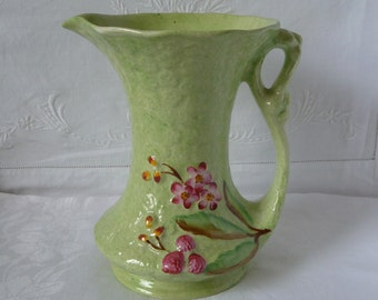 """1950s James Kent 'Old Foley' Jug Vase Pale Green with Applied PInk Flowers 7 1/2"""" 18.75cms"""