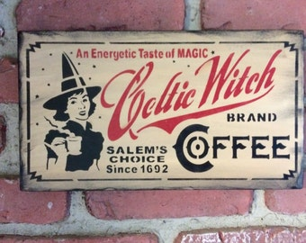 Celtic Witch Coffee Sign (Red)