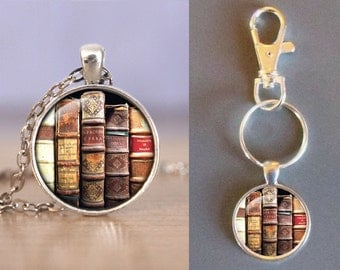 Ancient Tattered Book Collection - One Inch Round Glass Pendant -Choice of Necklace or Keychain