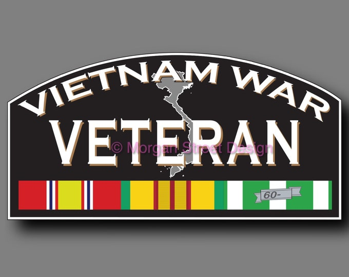 Vietnam War Combat Veteran Die Cut Vinyl Decal Sticker