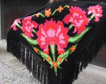 Handmade Crocheted Spanish Shawl Black with Red Carnations