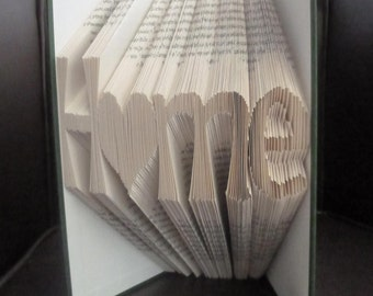 Book Folding/ Book Art Word - 'HOME' - Handcrafted in uk- Any word can be made up on a single line.
