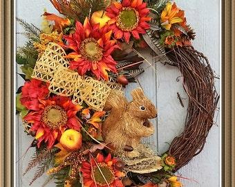 Fall Wreath, Grapevine Wreath, MAGENTA/Orange Sunflower Wreath, Squirrel Wreath, Autumn Wreath, Fall Decor, Wall/ Door Wreath, Nature Wreath