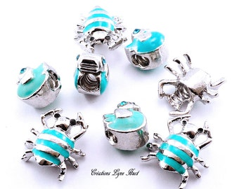 Spiders charms and blue ducks to insert on your bracelet charms !