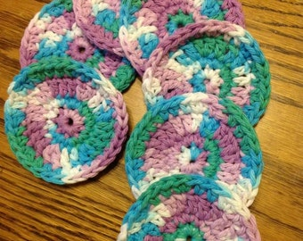 Facial Scrubbies Facial Scrubbies Bath and Beauty Bath rounds crochet, handmade,Cotton Makeup Remover Pads Crochet Set of 7