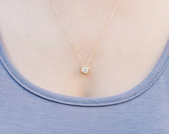 Floating Diamond Necklace, Bridesmaid Gift, CZ Necklace, Dainty Gold Necklace, Gold Necklace, Simple Gold Necklace, Everyday Necklace