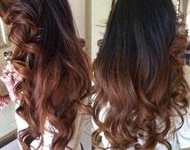 "Balayage Dip Dye 8A Remy Human Prebonded Flat Tip Hair Extensions Hair Extensions 1b Off Black into #33 Auburn Brown Ombre Dip Dye SALE! 20"""
