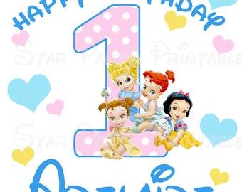 Personalized Princess Babies, Baby, Cinderella, Ariel, Belle, Snow White, T shirt Printable Iron On Transfer Sticker custom Birthday Shirt
