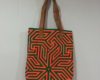 Tribal Canvas Tote Bag, Neon Fabric, Leather Handles, Green and Orange Maze