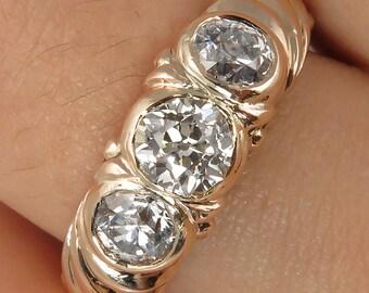 1.49ct Antique Vintage Old Mine Diamond 3 Stone Engagement Wedding 14k Gold Ring