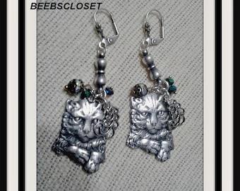 Cat Earrings , Silver Cat Earring, Birthstone Earrings, Dangle Earrings , Cat Lover Jewelry