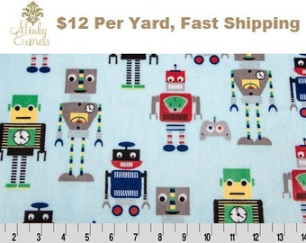 Minky Fabric By the Yard. ICU2 Aqua Cuddle Robot by Shannon Fabrics at Wholesale Prices