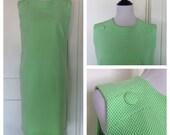 Vintage 60s Mod Dress Green & White Polyester Sleeveless Dress
