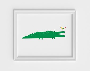 Alligator art print, nursery art prints, kids art prints, nursery wall art, nursery wall decor, baby wall decor, art print, kids wall art