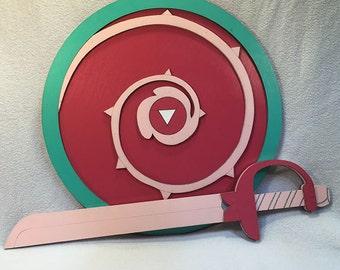 Rose Quartz Shield and Sword Set