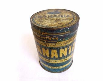 Antique box metal Banania circa 1910 - box French vintage lithographed sheet blue - round advertising Tin