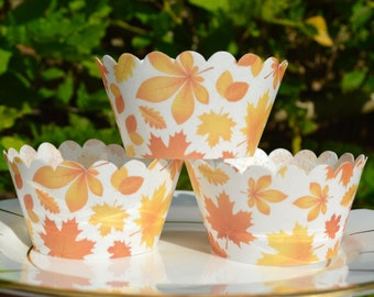 Edible Cupcake Wrappers Autumn Leaves x 12 Wafer Rice Paper Patterned Fairy Cake Fall Maple Leaf Image Cupcake Muffin Wedding Party Favours