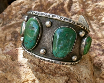 OLD CERRILLOS TURQUOISE Bracelet, Navajo, Handmade, Unsigned