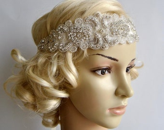 Bridal Rhinestone Headband, Bridal Headband, Wedding Headpiece, Flapper 1920s Ribbon tie on Bridal Headband,wedding bridesmaid headband