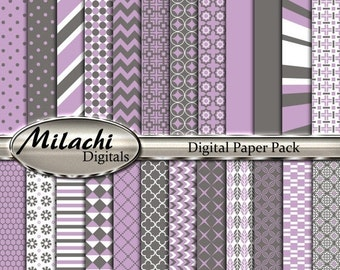 70% OFF SALE Gray and Lilac Digital Paper Pack, Scrapbook Papers, Commercial Use - Instant Download - M182