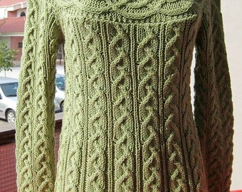 Women sweater, olive green cotton sweater, long sleeve tunic, hand knitted  women sweater, soft sweater boutique