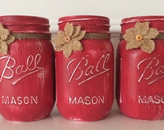 """Chalk Painted Mason Jars. Set of 3 pint size painted with Annie Sloan's """"Emperors Silk"""" over a coat of """"Pure White"""""""