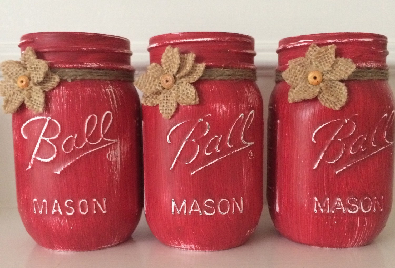 Red Mason Jar Kitchen Decor