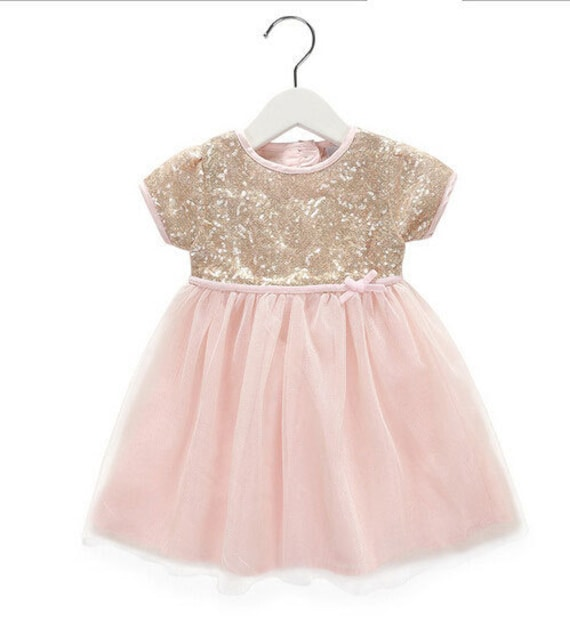 Peachy pink gold sequin dress pink tulle by for Pink and gold wedding dress