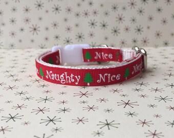Christmas Cat Collar - Cat Collar - Naughty or Nice - Red Cat Collar - Holiday Cat Collar - Kitten Collar