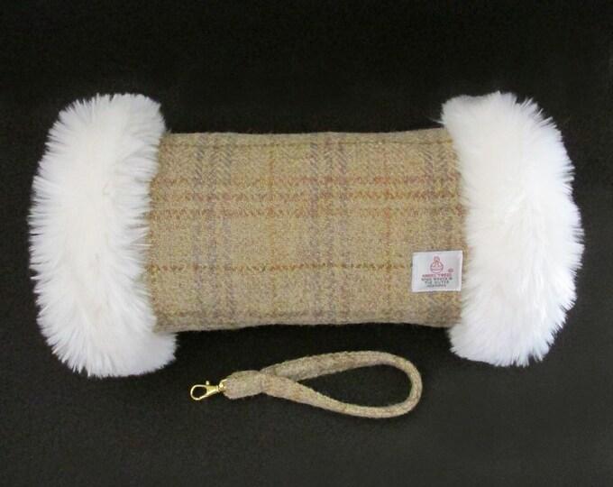 Harris Tweed Beige Tartan Check Hand Muff with Ivory Faux Fur Trim