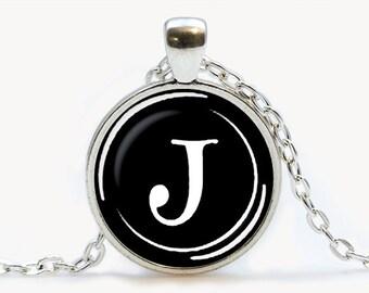 Vintage Typewriter Key pendant. Letter J Necklace. Typewriter jewelry. Initial Name, Birthday gift