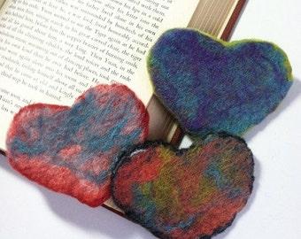 Felted Heart Book Mark, Felt Corner Bookmarker, Bookmark, Book Lover, Red