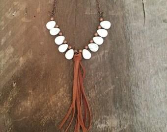 Teardrop and Fringe Necklace